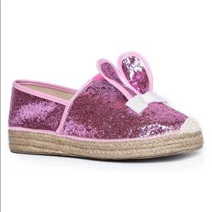 YRU pink glittery shoes Kawaii bunny ears